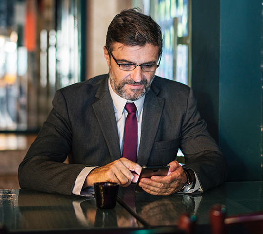 businessman on his smartphone