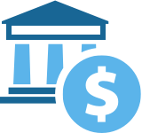 icon of building with columns and dollar sign